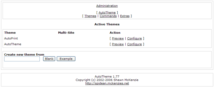 This is the list of AutoTheme themes that can be previewed and configured.
