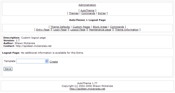 This is a theme specific Extra that allows you to have a custom page that a user sees after they logout.