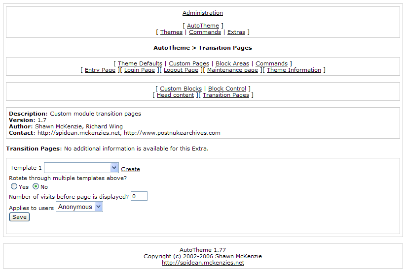 This powerful page/module specific Extra allows you to define templates that users see before visiting another page.  This is mainly geared towards advertising or special promotions.  For example, you can specify that a specific advertisement is displayed every 5 times a registered user views a download page or that a special notice page is displayed every time an anonymous user visits the forums! Add as many as you wish for any module or page.